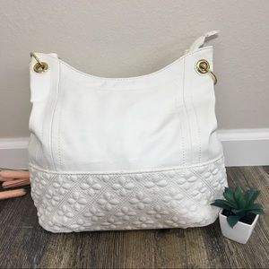 Big Buddha White Floral Stitch Shoulder Purse